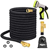 Higen 100ft Upgraded Expandable Garden Hose Set, Extra Strength Fabric Triple Layer Latex Core, 3/4'...