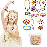 Edycur Arty Snap Pop Beads Set with Storage Bucket, Arts and Crafts Toys Gifts for Kids Age 4yr-12yr...