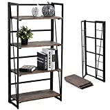 Coavas No-Assembly Folding-Bookshelf Storage Shelves 4 Tiers Bookcase Home Office Cabinet Industrial...