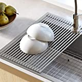 Kraus KRM-10GREY Silicone-coated stainless steel Over the Over the Sink Multipurpose Roll-Up Dish...