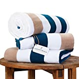 Oversize Plush Cabana Towel by Laguna Beach Textile Co | Navy and Almond Tan | 1 Classic, Beach and...