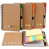 TOODOO 4 Packs 4.5 by 5.5 inch Spiral Notebook Lined Notepad with Pen in Holder and Sticky Notes,...