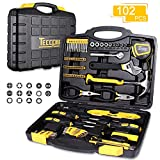 Tool Set, TECCPO 102-Piece Household Hand Tool Kit with Hammer, Wrenches, Precision Screwdriver Set,...