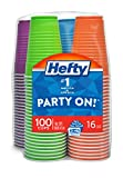 Hefty Disposable Plastic Cups in Assorted Colors - 16 Ounce, 100 Count