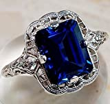 Yuren Elegant Huge Natural 3.5Ct Tanzanite 925 Silver Sapphire Ring Women Wedding Engagement Size...