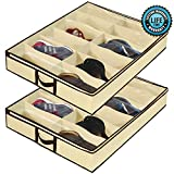 Ziz Home Under Bed Shoe Organizer for Kids and Adults - 12 Pairs - (2 Pack) - Underbed Shoes Closet...