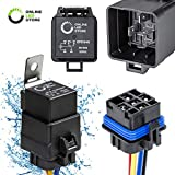 ONLINE LED STORE 40/30 Amp Waterproof Relay Switch Harness Set - 12V DC 5-Pin SPDT Automotive Relays...
