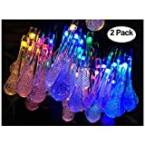 Lemontec Solar String Lights 20 Feet 30 LED Water Drop Solar Fairy Waterproof Lights for Garden,...