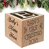 Baby's First Christmas Ornament 2019 - Christmas in July - Keepsake Personalized Baby Block Custom...