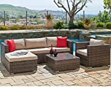 SUNCROWN Outdoor Furniture Sectional Sofa & Chair (6-Piece Set) All-Weather Checkered Wicker with...
