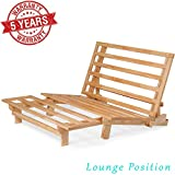 Queen Size Tri-Fold Wood Futon Sofa Bed Lounger Frame - (Space Saver, Natural Finish) Ideal for...