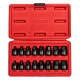 Sunex 3646, 3/8 Inch Drive Low Profile Impact Hex Driver Set, 16-Piece, SAE/Metric, 1/4 Inch - 3/4...