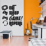 EAT, SLEEP, GAME, REPEAT - Gamers Wall Art Vinyl Decal - Video Gamers Cool Wall Decor- Decoration...
