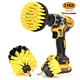 ORIGINAL Drill Brush 360 Attachments 3 pack kit Medium- Yellow All purpose Cleaner Scrubbing Brushes...