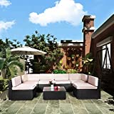 U-MAX 7 Pieces Patio PE Rattan Wicker Sofa Set Outdoor Sectional Furniture Conversation Chair Set...