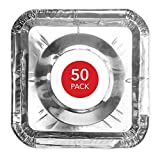 Gas Stove Burner Covers (50 Pack) Disposable Aluminum Foil Gas Stove Drip Pans - 8.5 Inch Square...