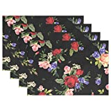 Mr.Lucien Bright Peony Lily Flower Pattern Placemats for Dining Table Watercolor Plant Classic...