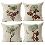 Monkeysell Pack of 4 Lotus Leaf Butterfly Flowers Pattern Cotton Linen Throw Pillow Case Boho Floral...