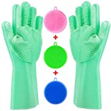 Tebba Magic Dishwashing Gloves Silicone Scrubber Sponges - Reusable Rubber Great Washing Dish...