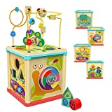 TOP BRIGHT Wooden Activity Cube Toys for 1 Year Old Girl, Baby Bead Toy for Toddlers, One Year Old...