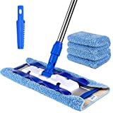 MR. SIGA Professional Microfiber Mop,Stainless Steel Handle - Pad Size: 42cm x23cm, 2 Free...