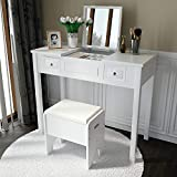 Amooly Vanity Set with Flip Top Mirror Makeup Dressing Table Writing Desk with 2 Drawers Cushioned...