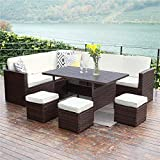 Wisteria Lane Patio Furniture Set,10 PCS Outdoor Conversation Set All Weather Wicker Sectional Sofa...