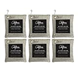 6-Pack Activated Bamboo Deodorizer Bags, 200g Natural Odor Eliminators, Charcoal Grey-Colored Air...
