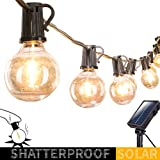 Solar Outdoor String Lights-20Ft. Shatterproof G40 Globe Patio Lights with 20 LED Bulbs & 4 Light...