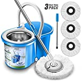 Aootek Upgraded Stainless Steel Deluxe 360 Spin Mop & Bucket Floor Cleaning System Included...