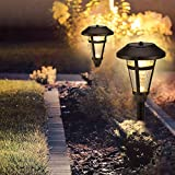 GIGALUMI 6 Pcs Solar Lights Outdoor, Bronze Finshed, Glass Lamp, Waterproof Led Solar Lights for...
