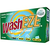 WashEZE 3-in-1 Laundry Detergent - Sheets 10 Count, No Scent Portable Individual Packages For Easy...