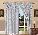 Elegant Comfort Penelopie Jacquard Look Curtain Panel Set with with Attached Waterfall Valance, Set...
