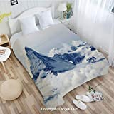 AngelDOU Printed Lightweight Throw Blanket W31 xL47 Moonrise Magic Landscape with Empty Rural Path...