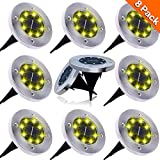 NAIYO Solar Ground Lights, Upgraded Outdoor Garden Waterproof Bright in-Ground Lights for Lawn...