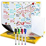2019 Dry Erase Fridge Calendar   Flat Monthly and Weekly Magnetic Calendar for Refrigerator   Large...