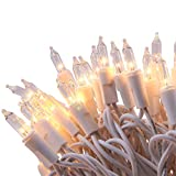 LIDORE 100 Counts Bright Clear Mini Christmas Tree Lights. White Wire String Light for Decoration....