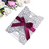 Glitter Wedding Invitations Cards Laser Cut Hollow Rose With Burgundy Ribbon For Bridal Shower...