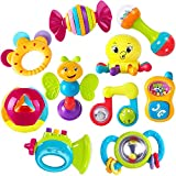 iPlay, iLearn 10pcs Baby Rattles Teether, Shaker, Grab and Spin Rattle, Musical Toy Set, Early...