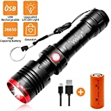 Wsky Rechargeable Flashlight, Best S3000 LED Tactical Flashlight, (7500mAh 26650 Rechargeable...