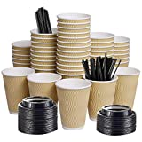 12oz 100 Packs Insulated Kraft Ripple Wall Disposable To Go Paper Coffee Cups for Office Parties...