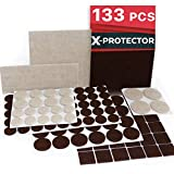 X-PROTECTOR Premium Two Colors Pack Furniture Pads 133 Piece! Felt Pads Furniture Feet Brown 106 +...