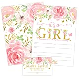 It's a Girl Floral Butterfly Baby Shower Invitation, Pink and Gold Flowers Sprinkle Invites with...