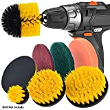 JUSONEY Drill Brush Scrub Pads 8 Piece Power Scrubber Cleaning Kit - All Purpose Cleaner Scrubbing...