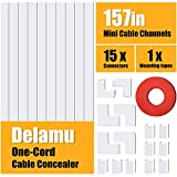 One-Cord Cable Concealer, 157in Cord Cover, PVC Wire Molding, Paintable Wire Channel to Hide a...