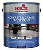 KILZ L377611 1-Part Epoxy Acrylic Interior/Exterior Concrete and Garage Floor Paint, Satin, Silver...