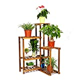 Six Tier Corner Plant Stand Shelf Wood Flower Rack Planter Bonsai Pots Displaying Shelves for...