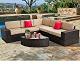 SUNCROWN Outdoor Furniture Sectional Sofa & Wedge Table (6-Piece Set) All-Weather Brown Wicker with...