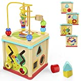 TOP BRIGHT Activity Cube Toys Baby Educational Wooden Bead Maze Shape Sorter for 1 Year Old Boy and...