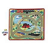 Melissa & Doug Round the Town Road Rug & Car Set (Cars & Trucks, Safe for All Floors, 4 Wooden Cars,...